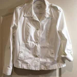 Jones New York Stretch White Jean Jacket